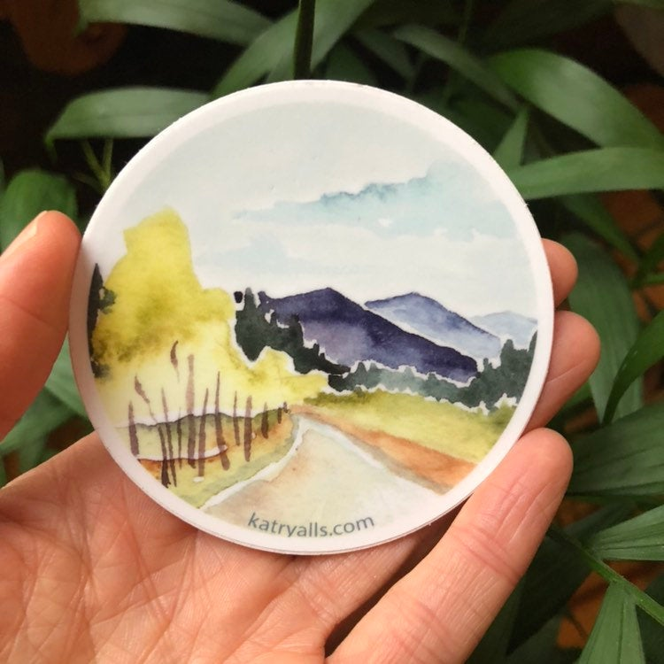 "Mountains Country Road Vinyl Sticker Decal Journey Travel PNW  3"" circle National Parks"
