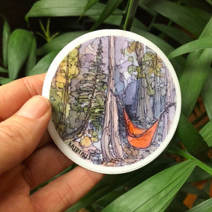 "Hammock Vinyl Sticker Camping National Parks  3"" circle by Kat Ryalls outdoor nature watercolor"