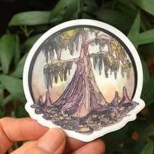 "Load image into Gallery viewer, Journey Travel Louisiana Cypress Swamp Vinyl Sticker  3"" circle by Kat Ryalls Watercolor New Orleans"