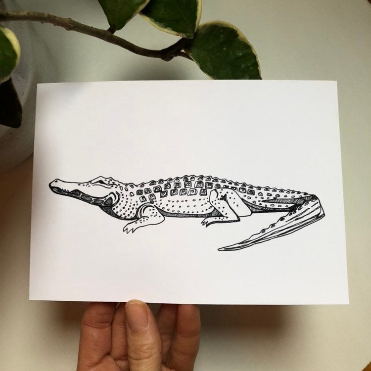 "Alligator Crocodile Ink Drawing Illustration Fine Art Print 5x7"" Kat Ryalls"