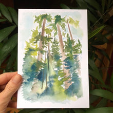 Load image into Gallery viewer, Pine Trees Pacific Northwest Ponderosa Watercolor National Park Print