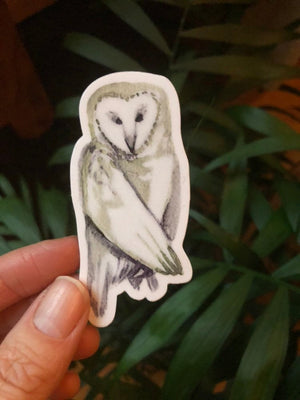 "Owl Vinyl Sticker 3"" by Kat Ryalls ink decal watercolor animal sticker"