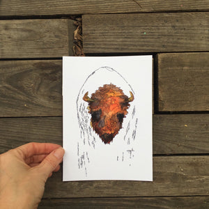 "Buffalo Art Print Ink and Watercolor bison animal print 5x7"" kat ryalls"