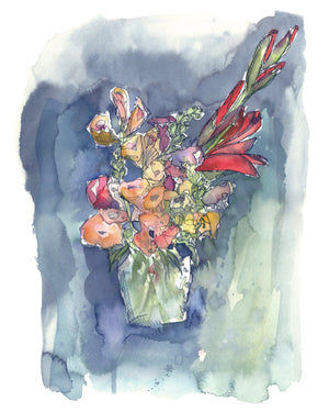Flowers Still Life in a Vase, loose floral bouquet valentines art print by kat ryalls watercolor