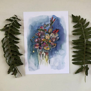 Loose Floral Bouquet Watercolor Art Print Flowers Wildflowers Valentines art print by kat ryalls