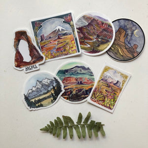 Travel Vinyl Sticker pack of 7! National Parks | Road Trip Decals | National Park Stickers Hiking Camping