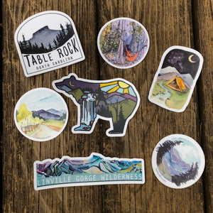 Blue Ridge Mountains Vinyl Sticker pack of 7 stickers | Linville Gorge Wilderness | National Parks | Road Trip Decals | National Park Sticke