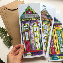 Load image into Gallery viewer, Set of 4 New Orleans blank cards  greeting cards house warming shotgun house | Set of Blank Cards NOLA variety pack | notecard | house cards