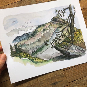 Linville Gorge Blue Ridge Mountains Hawksbill Mountain watercolor fine art print by kat ryalls North Carolina Mountains