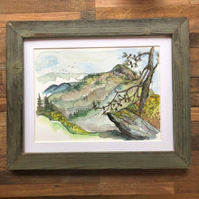 Load image into Gallery viewer, Linville Gorge Blue Ridge Mountains Hawksbill Mountain watercolor fine art print by kat ryalls North Carolina Mountains