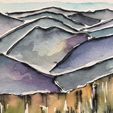 Load image into Gallery viewer, Blue Ridge Mountains North Carolina  ORIGINAL watercolor painting National Park kat ryalls Roan Mountain Appalachia