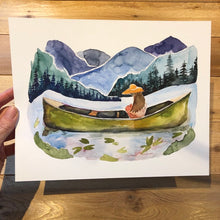 Load image into Gallery viewer, Girl in Canoe Blue Ridge Mountains North Carolina  watercolor painting National Park Print kat ryalls