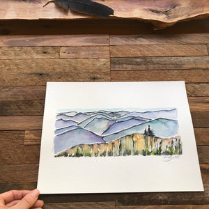 Blue Ridge Mountains North Carolina  ORIGINAL watercolor painting National Park kat ryalls Roan Mountain Appalachia