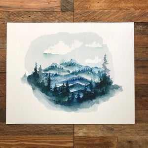 Linville Gorge Table Rock Blue Ridge Mountains watercolor fine art print by kat ryalls North Carolina Mountains