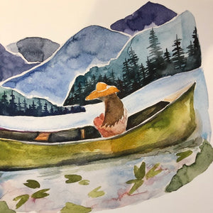 Girl in Canoe Blue Ridge Mountains North Carolina  watercolor painting National Park Print kat ryalls
