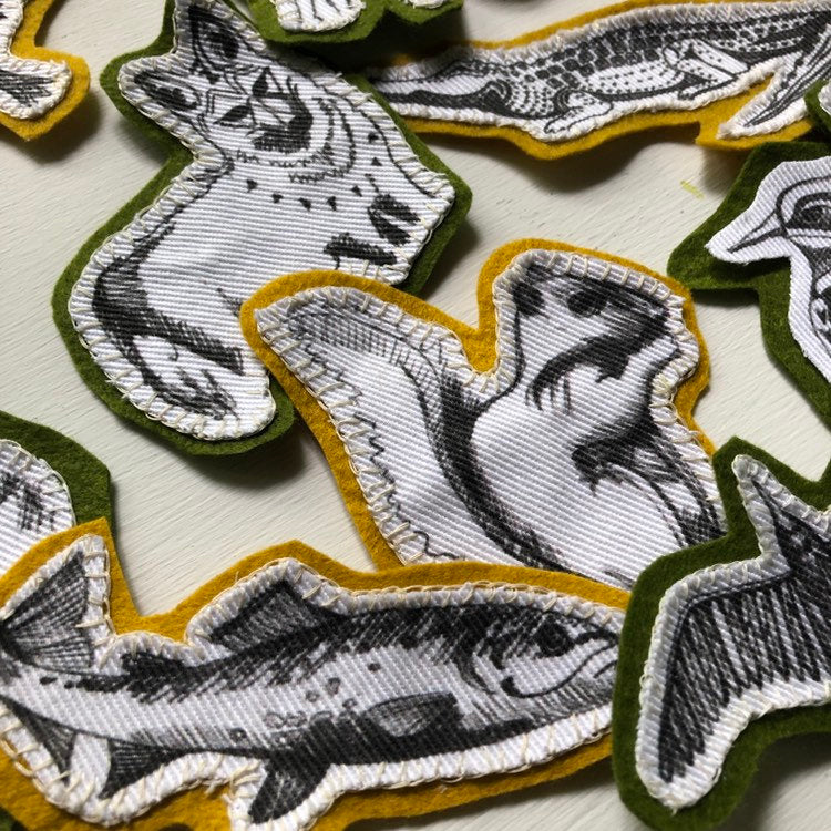 Animal Patches on cotton and eco felt | alligator | buffalo | mule | turtle | wearable art | handstitched