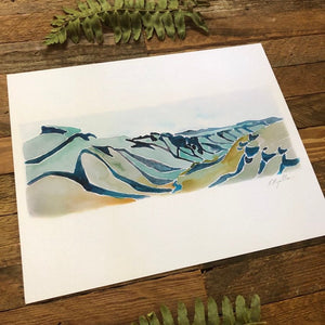 Linville Gorge Table Rock NC Blue Ridge mountains watercolor fine art print 2018 by kat ryalls