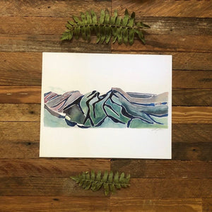 Linville Gorge Hawksbill Table Rock NC Blue Ridge mountains watercolor fine art print 2018 by kat ryalls