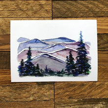 Load image into Gallery viewer, Blue Ridge Mountains North Carolina  watercolor painting National Park Print kat ryalls