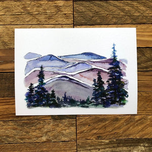 Blue Ridge Mountains North Carolina  watercolor painting National Park Print kat ryalls
