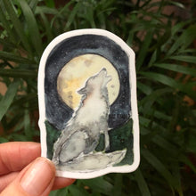 "Load image into Gallery viewer, Wolf Howling at the Full Moon vinyl decal  3"" by Kat Ryalls  decal watercolor sticker 