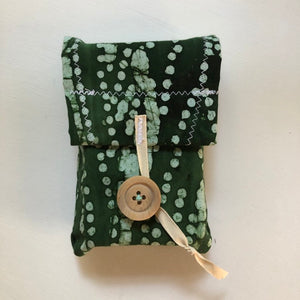 Oracle Card Bag | Tarot Bag | green batik cotton Tarot Pouch with or without Roots & Wings Oracle Deck