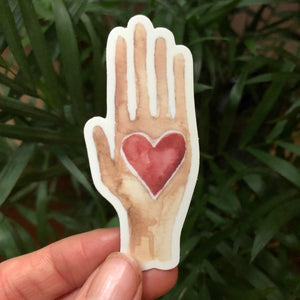 "Heart in Hand vinyl decal  3"" by Kat Ryalls  decal watercolor animal sticker 