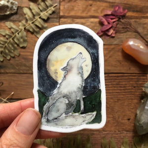 "Wolf Howling at the Full Moon vinyl decal  3"" by Kat Ryalls  decal watercolor sticker 