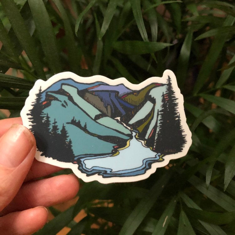 "Linville Gorge Wilderness in blue  Blueridge Mountain Vinyl Sticker  3"" decal by Kat Ryalls  watercolor"