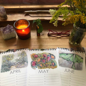 Perpetual Calendar | Blue Ridge Mountains | Birthday Calendar watercolor landscapes by kat ryalls of River and Roots
