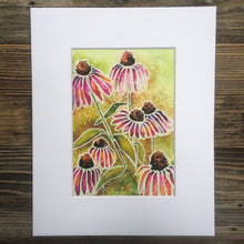 Load image into Gallery viewer, Echinacea flower watercolor  art print botanical art  Kat Ryalls