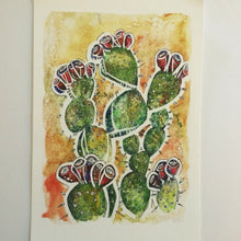Load image into Gallery viewer, Prickly Pear watercolor cactus fine art print Kat Ryalls