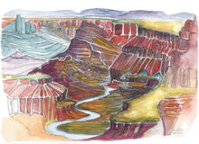 Load image into Gallery viewer, Grand Canyon National Park watercolor art print nature art Kat Ryalls