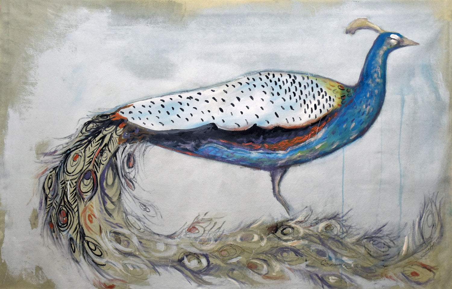 "Peacock Painting 11x14"" print on archival fine art paper signed and numbered kat ryalls modern art"