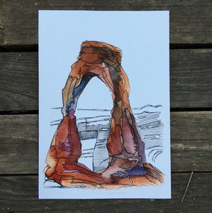"Delicate Arch Utah watercolor National Park giclee 5x7"" kat ryalls 2015"