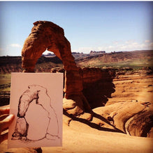 "Load image into Gallery viewer, Delicate Arch Utah watercolor National Park giclee 5x7"" kat ryalls 2015"