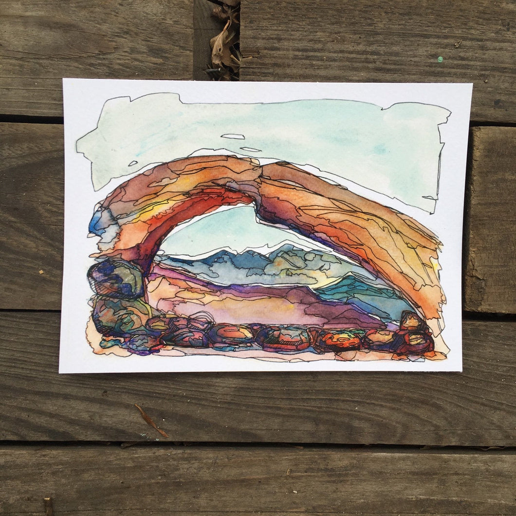 Mesa Arch in the Morning, Utah watercolor giclee 5x7