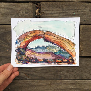 "Mesa Arch in the Morning, Utah watercolor giclee 5x7"" kat ryalls 2015"
