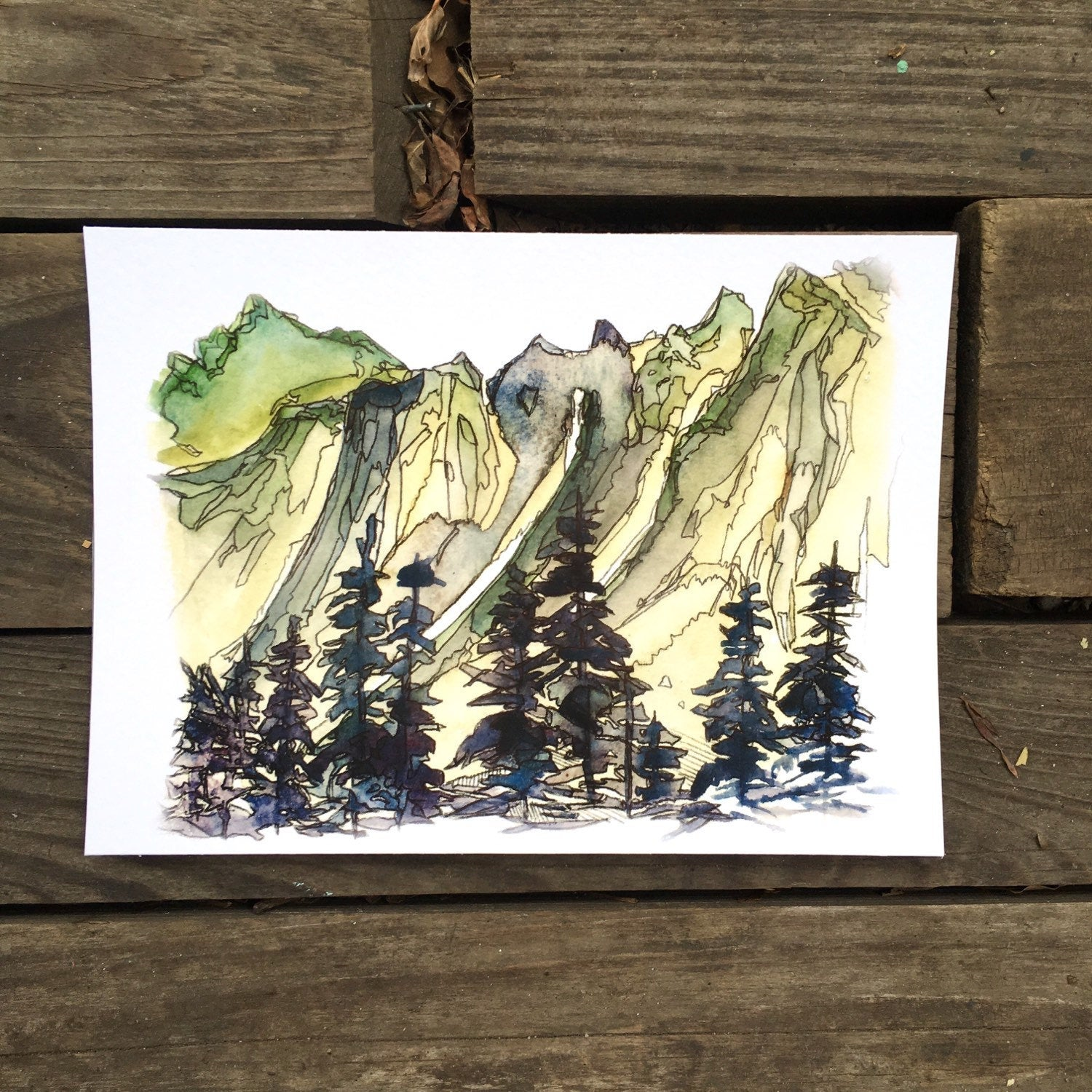 "Cascade Mountains Washington watercolor National Park giclee 5x7"" kat ryalls 2015"
