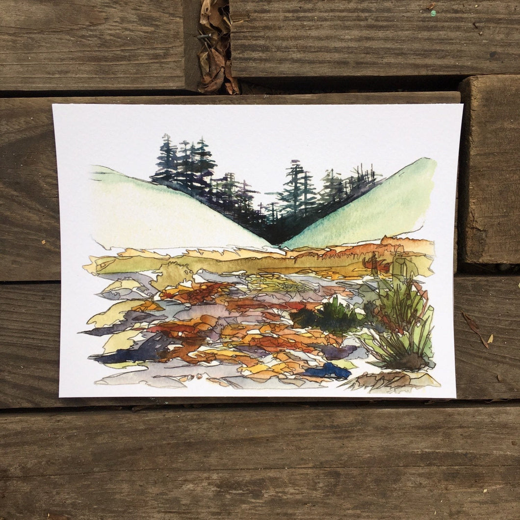 Mount Rainier Washington watercolor National Park giclee 5x7