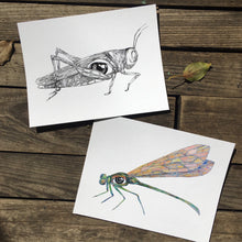 "Load image into Gallery viewer, Grasshopper eye watercolor 5x7"" fine art print kat ryalls 2015"