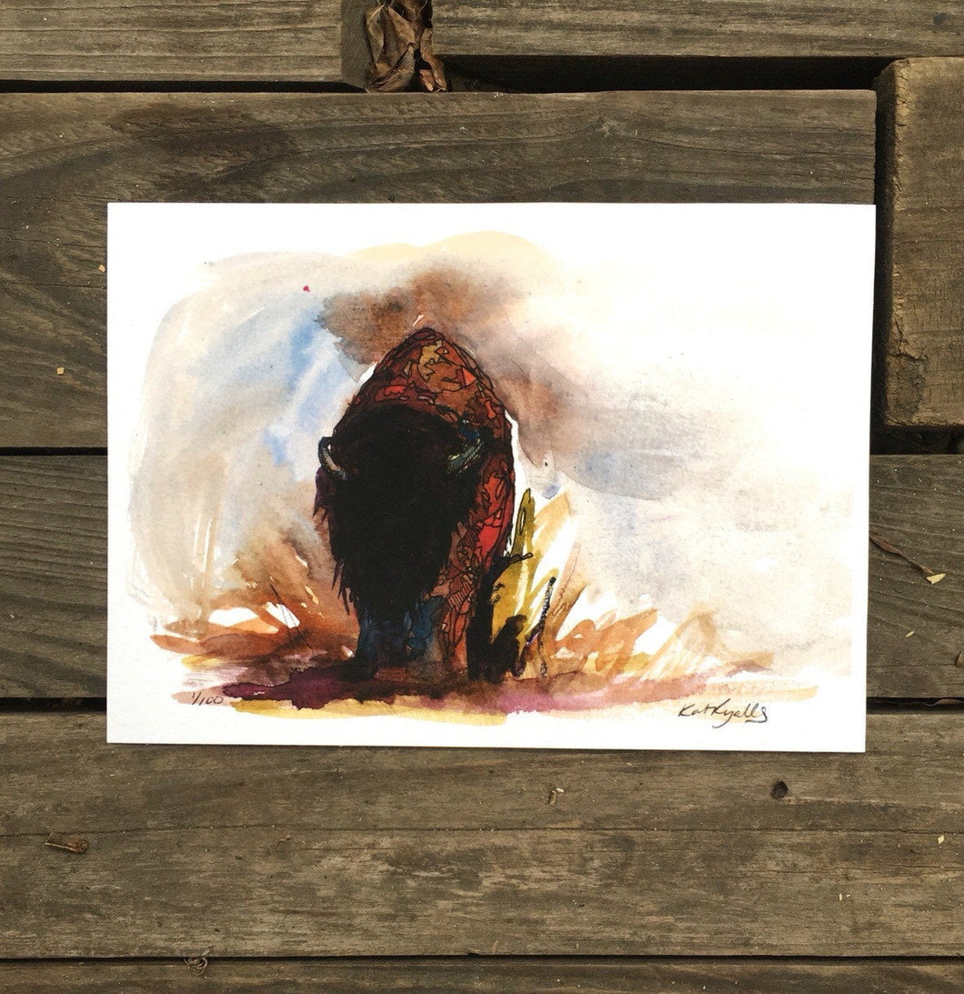Bison on the plains ink and watercolor giclee 5x7