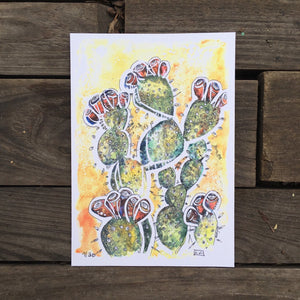 Prickly Pear watercolor cactus fine art print Kat Ryalls