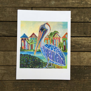 New orleans Pelican  Mid City Love  Kat Ryalls  print on archival fine art paper signed and numbered, New Orleans art, oil painting