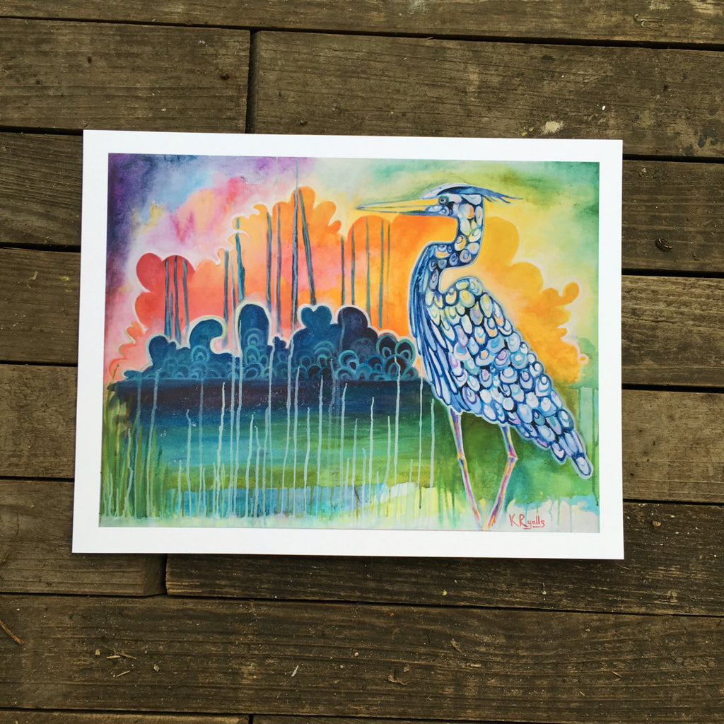 New orleans blue heron sunset giclée print on archival fine art paper signed
