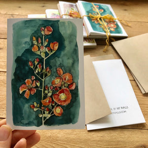 Floral watercolors set of 4 blank note cards