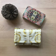 Load image into Gallery viewer, Oracle Card Bag | gold and white floral