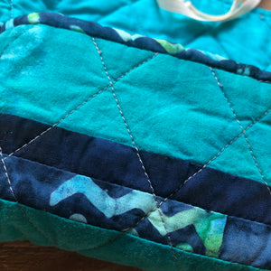 Oracle Card Bag | striped blue quilted