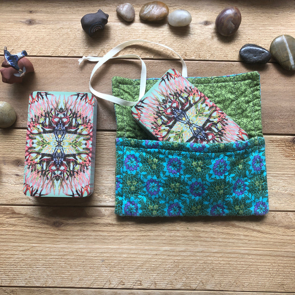 Oracle Card Bag | teal floral