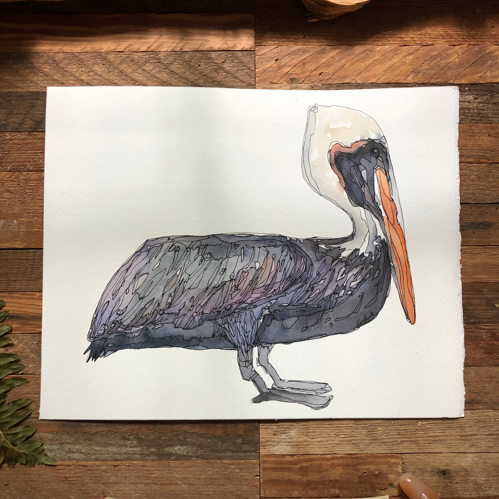 ORIGINAL Pelican on white 11x14""